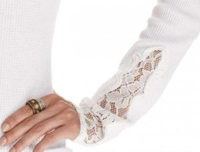 Lucky Brand Lace Thermal Comfortable Casual Sweater