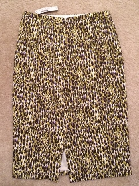 J.Crew Pencil Multi-colored Fully Lined Skirt Multi - Green, Purple, Black