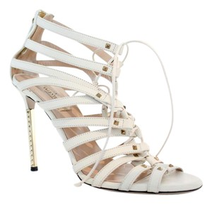 Valentino Lace Up 38 White Heels White Leather Ivory Sandals