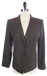 Ann Taylor Button Brown Pinstripe Blazer