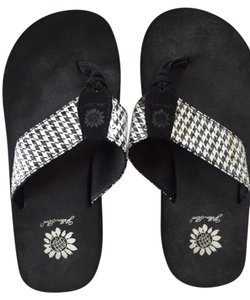 Yellow Box Flip Flops Flats Polka Dots Black, white, houndstooth Sandals