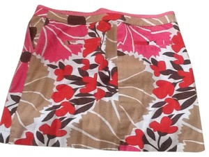 J.Crew Mini Skirt Red/tan/pink