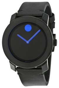 Movado Black Dial with Blue Hands Black Leather Strap Designer Unisex Casual Watch