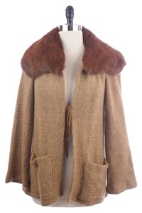 Nanette Lepore Wide Collar Rabbit Fur Cardigan Sweater