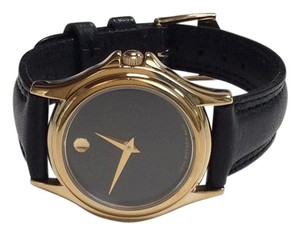 Movado Gold w/ Black Leather Ladies Watch
