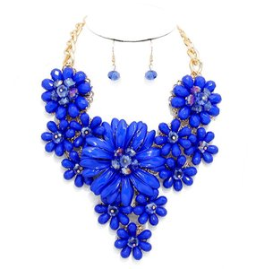 Blue Floral Bloom Bouquet Statement Necklace and Earring Set