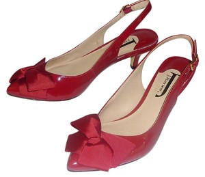 J. Renee Buckle Bow Slingback Patent Leather Comfortable Red Pumps