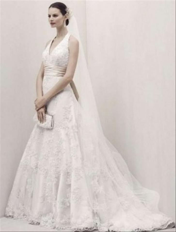 Oleg cassini a line halter top lace wedding dress for Wedding dress designer oleg cassini