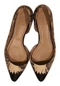 Tory Burch Leather Pointed Toe Black and off white Multi Flats