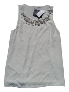 Ann Taylor Jeweled Neckline Sleeveless Formal Top White