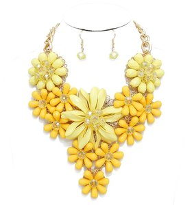 Yellow Floral Bloom Bouquet Statement Necklace and Earring Set