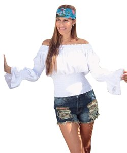 Lirome Boho Resort Cottage Chic Ibicenco Top White