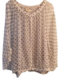 Elizabeth and James Top White with black polka dots