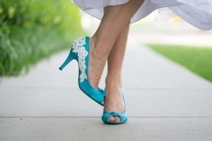 Qupid Blue Peeptoes with Lace Appliques Pumps Size US 7.5