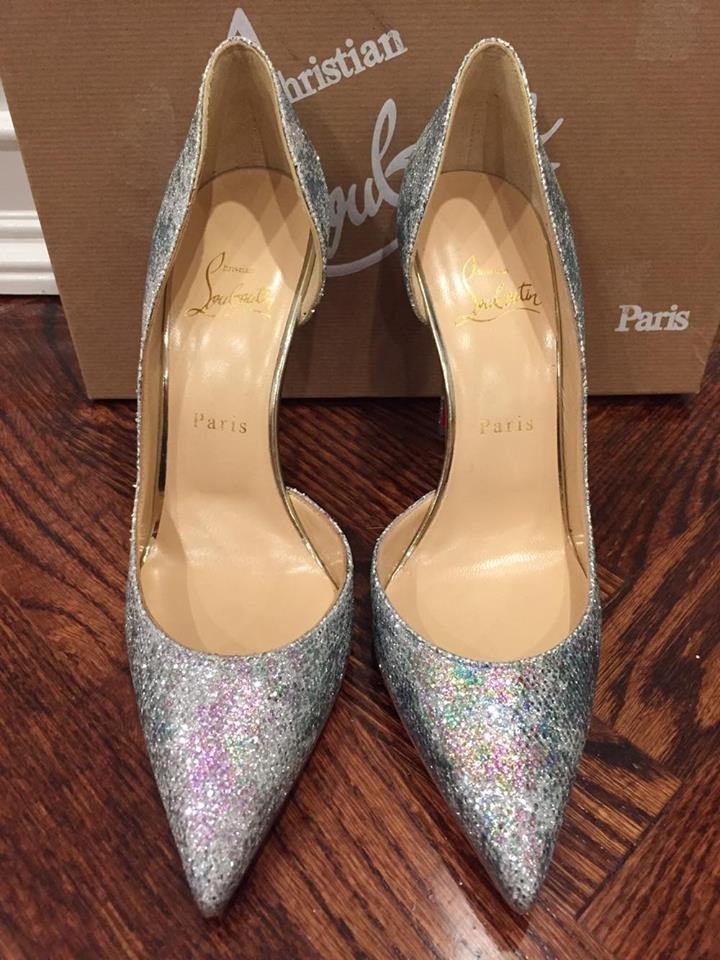 new arrival 0d757 765be Christian Louboutin Silver Iriza 100 Glitter Solaria Gold D'orsay Pumps  Size US 7.5 Regular (M, B) 39% off retail