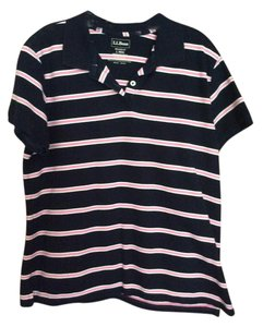 L.L.Bean Polo Relaxed Fit Stripe T Shirt Navy, pink, white