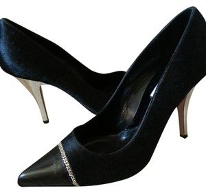Michael Kors Leather Haircalf Stilettos Size 7 Silver Heel Pointy Toe Chain Italy Black Pumps