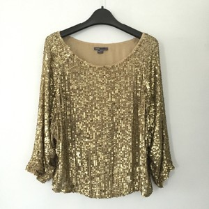 Vince Sequins Embellished Top Gold