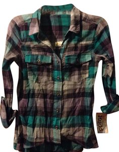 Mudd Button Down Shirt Bluish Green And Purple
