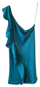 The Limited One Shoulder Open Shoulder Ruffle Silk Top Turquoise