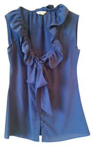 Banana Republic Ruffle Silk Sleeveless Top Royal Blue