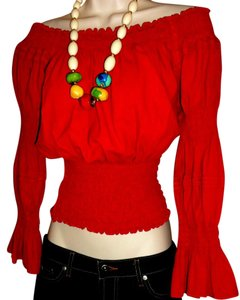 Lirome Boho Resort Cottage Chic Ibicenco Top Red