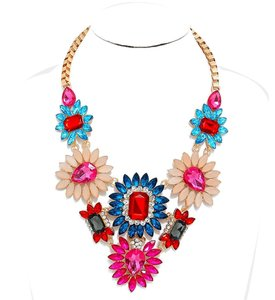 Multicolor Rhinestone Crystal Bouquet Statement Necklace