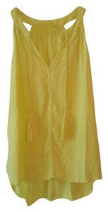 Banana Republic Boho Tassels Sleeveless Flowy Chic Top Yellow