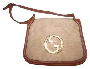 Gucci Equestrian Accents Blondie Bold Gold Accents Neutral Canvas Leather Hobo Bag