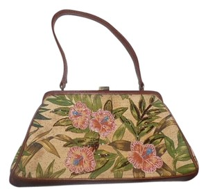 Other Hawaiian Print Hinged Top Excellent Condition Leather/canvas Body Great Everyday Shoulder Bag