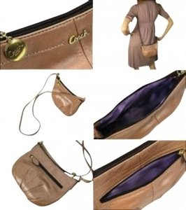 Coach Beige Leather Pleated Cross Body Bag