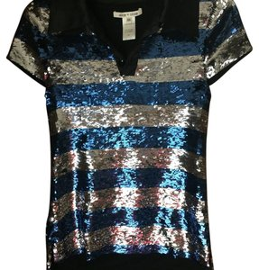Alice + Olivia Top Silve/blue/black