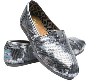 TOMS Sequins Pewter Flats