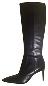 Via Spiga Leather Narrow Heel Knee High New Side Zipper Black Boots
