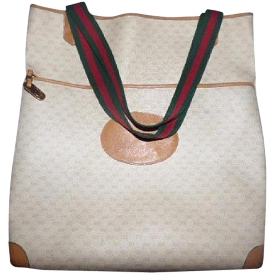 5e335622181 Gucci Extra Large Size Satchel Or Multi-compartment Tote in ivory coated  canvas camel ...