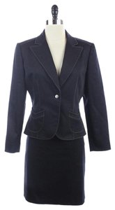 Tahari TAHARI Blue 2 PIECE Blazer SKIRT SUIT Cotton Blend SIZE 6P 6 PETITE