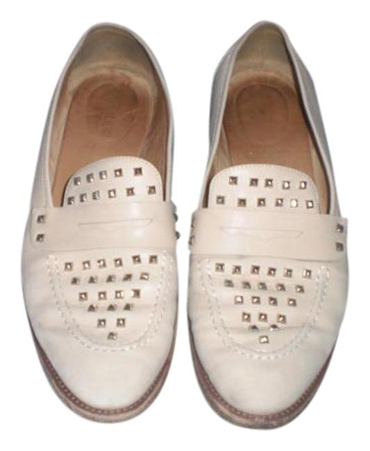 Item - Cream Made In Italy Leather Studded Loafers Flats Size US 10 Regular (M, B)
