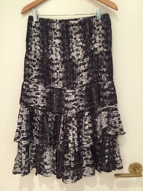 Item - Purple/Ivory Snakeskin Print Tiered Pour H&m Skirt Size 10 (M, 31)