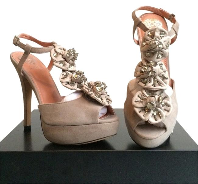 Item - Gray W New Suede Pumps W/ Leather Rosettes & Rhinestones Formal Shoes Size US 7.5 Regular (M, B)
