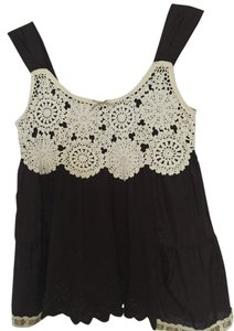 Anthropologie Lace Flowy Top Brown & Ivory