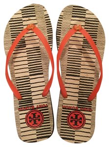 Tory Burch Orange strap. Navy and white strip Sandals