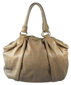Prada Hobo Gold Satchel in Beige