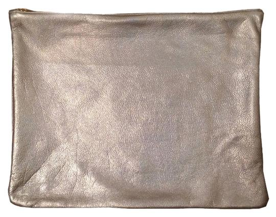 American Apparel American Apparel Silver Iridescent Large Leather Pouch