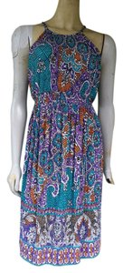 A Pea In The Pod DONNA MORGAN for Pea in the Pod Maternity Print Accordian Pleated Dress M