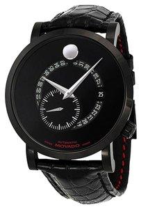 Movado Black Dial Stainless Steel Black Embossed Leather Strap Designer MENS Luxury Watch