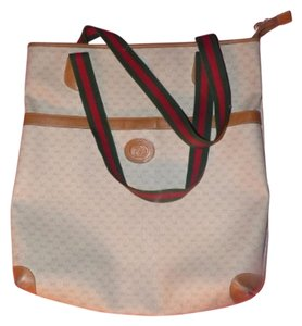 Gucci Extra Size Tote in ivory coated canvas/camel G logo/leather & red/green striped straps