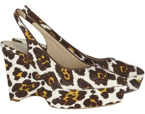 Stella McCartney Vegan Canvas Leopard Slingback Leopard-print canvas Wedges