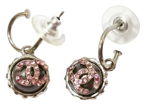 Chanel Chanel Silver Rim Grey Pearl Pink Rhinestone Stud Piercing Earrings