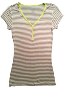 Old Navy T Shirt Beige and white strips with yellow trim