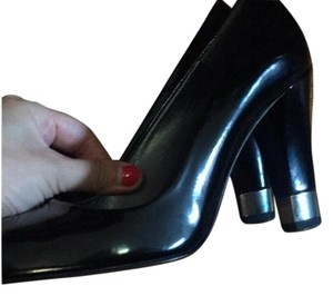Stuart Weitzman Heel Peeptoe black and silver Pumps